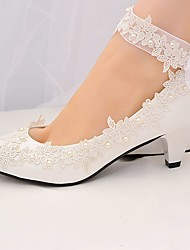 cheap -Women's Lace Spring &  Fall / Spring & Summer Sweet Wedding Shoes Cone Heel Imitation Pearl White / Party & Evening
