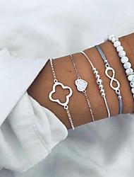 cheap -5pcs Women's Bead Bracelet Loom Bracelet Pendant Bracelet Layered Heart Infinity Trendy Casual / Sporty Ethnic Boho Rhinestone Bracelet Jewelry Silver For Street Holiday Work Birthday