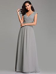 cheap -A-Line Plunging Neck Long Length Chiffon Bridesmaid Dress with Pleats