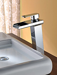 cheap -Bathroom Sink Faucet - Waterfall / LED Chrome Free Standing Single Handle Two HolesBath Taps / Stainless Steel