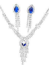 cheap -Sapphire Crystal Citrine Jewelry Set Pendant Necklace Tassel Pear Cut Ladies Tassel Party Fashion Cubic Zirconia Silver Plated Earrings Jewelry Yellow / Blue For Party Special Occasion Anniversary