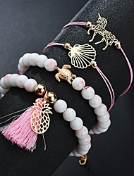 cheap -Women's Bead Bracelet Wrap Bracelet Beads Horse Turtle Pineapple Trendy Fashion Cute Cord Bracelet Jewelry Pink For Gift Daily Going out