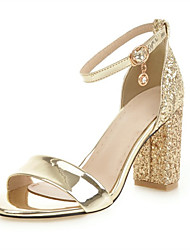 cheap -Women's Sandals Chunky Heel Open Toe PU Spring & Summer Gold / Silver / Wedding / Party & Evening / Party & Evening