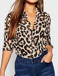cheap -2019 New Arrival Blouses Women's Slim Blouse - Leopard Shirt Collar Blusas Mujer Chemise Femme Brown XL