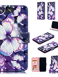 cheap -Case For Apple iPhone XS / iPhone XR / iPhone XS Max Wallet / Card Holder / with Stand Full Body Cases Butterfly / 3D Cartoon Hard PU Leather