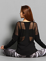 cheap -Women's Patchwork See Through Mesh Running Shirt Yoga Running Fitness Breathable Quick Dry Soft Sportswear Top Long Sleeve Activewear Stretchy