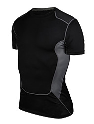cheap -Men's Compression Shirt Short Sleeve Compression Base Layer T Shirt Top Plus Size Lightweight Breathable Quick Dry Soft Sweat-wicking Black Grey Gray+White Lycra Cotton Winter Road Bike Fitness