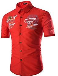 cheap -Men's Slim Shirt - Letter Black / Short Sleeve
