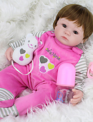 cheap -NPKCOLLECTION NPK DOLL Reborn Doll Girl Doll Baby Girl 18 inch Silicone Vinyl - Newborn lifelike Cute Hand Made Child Safe New Design Kid's Girls' Toy Gift / Parent-Child Interaction / Non Toxic