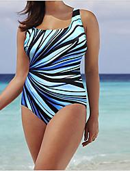 cheap -Women's Basic Black Light Blue Light Brown One-piece Swimwear - Geometric XXXL XXXXL XXXXXL Black