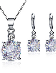 cheap -Women's Cubic Zirconia Drop Earrings Pendant Necklace Simple Classic Vintage Imitation Diamond Earrings Jewelry White For Party Prom Birthday Festival 3pcs / pack
