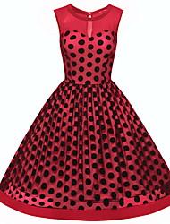 Недорогие -Жен. С летящей юбкой Платье - Без рукавов Синий Красный S M L XL XXL XXXL XXXXL XXXXXL