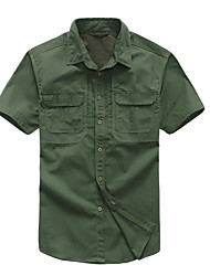 cheap -Men's Hiking Shirt / Button Down Shirts Short Sleeve Outdoor Breathable Quick Dry Multi Pocket Back Venting Design Shirt Top Autumn / Fall Spring Cotton Camping / Hiking / Caving Shooting Walking