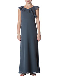 cheap -Sheath / Column Jewel Neck Ankle Length Chiffon Junior Bridesmaid Dress with Ruffles by LAN TING BRIDE®