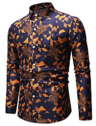 cheap -Men's Shirt Geometric Check Print Tops Basic Classic Collar Red Yellow Orange / Long Sleeve