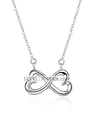 cheap -Women's Pendant Necklace Infinity Bowknot Simple Basic Copper Silver Plated Silver 45 cm Necklace Jewelry 1pc For Daily Work