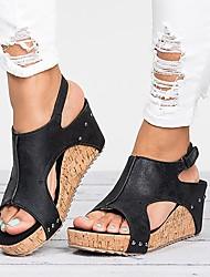 cheap -Women's Sandals Wedge Heel PU Summer Black / Brown / Beige