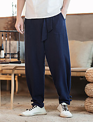 cheap -Men's Woven Pants Athletic Pants / Trousers Harem Cotton Gym Workout Lightweight Quick Dry Plus Size Sport Black Dark Blue Coffee Solid Colored / Micro-elastic
