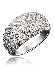 cheap -Women's Ring Micro Pave Ring Cubic Zirconia 1pc Gold Silver 18K Gold Plated Imitation Diamond Round Unusual Stylish Luxury Party Engagement Jewelry Classic Lovely