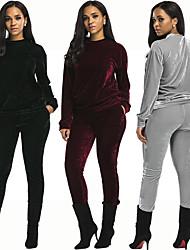 abordables -Femme Vêtement de rue Velours Survêtement 2pcs Hiver Course / Running Fitness Respirable Chaud Doux Tenue de sport Ensembles de Sport Manches Longues Tenues de Sport Elastique Standard