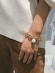 cheap -Women's Bracelet Pendant Bracelet Classic Precious Interlocking Romantic Fashion Aluminum Bracelet Jewelry Gold For Gift Ceremony Evening Party Date Festival / Pearl / Pearl