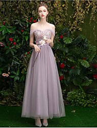 cheap -A-Line Off Shoulder Floor Length Tulle Bridesmaid Dress with Ruching
