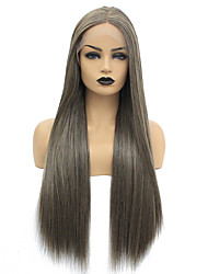cheap -Synthetic Lace Front Wig Straight Middle Part Lace Front Wig Long Brown Synthetic Hair 22-26 inch Women's Heat Resistant Women Hot Sale Brown / Glueless