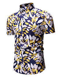 cheap -Men's Shirt Trees / Leaves Print Short Sleeve Tops White Gold