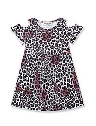 cheap -Toddler Girls' Active Leopard Cut Out Short Sleeve Above Knee Dress Brown