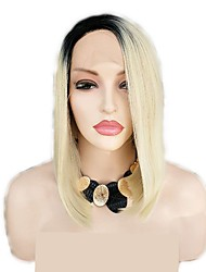 cheap -Synthetic Lace Front Wig Curly kinky Straight Bob Layered Haircut Lace Front Wig Short Light Blonde Synthetic Hair 12 inch Women's Women Ombre Hair Black Sylvia