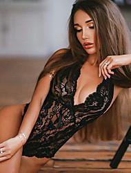cheap -Women's Lace / Backless Plus Size Super Sexy Bodysuits Nightwear Solid Colored White Black XL XXL XXXL / Halter Neck