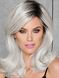 cheap -Synthetic Wig Wavy Side Part Wig Short Silver Synthetic Hair 16 inch Women's Classic Synthetic Easy dressing Dark Gray