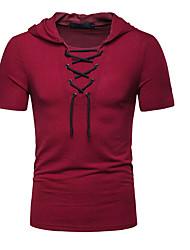cheap -Men's Graphic Solid Colored T-shirt Hooded Wine / White / Black / Light gray / Dark Gray / Navy Blue
