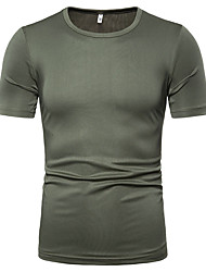 cheap -Men's Solid Colored T-shirt Round Neck White / Black / Blue / Red / Yellow / Army Green / Orange