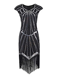 cheap -The Great Gatsby Charleston Vintage 1920s Flapper Dress Party Costume Masquerade Women's Sequins Tassel Sequin Costume Black / Black+Sliver / Golden+Black Vintage Cosplay Party Homecoming Prom