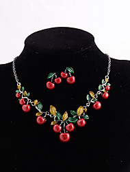 cheap -Women's Jewelry Set Layered Cherry Simple Classic Trendy Fashion Cute Earrings Jewelry Red For Wedding Gift Street Beach Festival 3pcs
