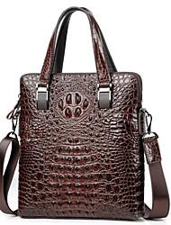 cheap -Men's Bags Cowhide Laptop Bag Briefcase Top Handle Bag Belt Zipper Handbags Office & Career Black Brown