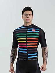 cheap -BOESTALK Men's Short Sleeve Cycling Jersey Black / Red Black Dark Blue Bike Shirt Jersey Compression Clothing Mountain Bike MTB Road Bike Cycling Moisture Wicking Sports Clothing Apparel / Stretchy