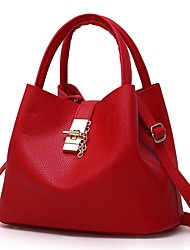 cheap -Women's Patent Leather Tote Solid Color Black / Blushing Pink / Red / Fall & Winter