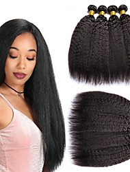 Недорогие -6 Связок Бразильские волосы Кудрявый Яки 100% Remy Hair Weave Bundles 300 g Головные уборы Человека ткет Волосы Пучок волос 8-28 дюймовый Естественный цвет Ткет человеческих волос / Без запаха