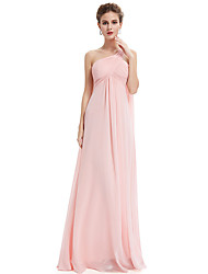 cheap -A-Line Cross Front Floor Length Chiffon Bridesmaid Dress with Sash / Ribbon