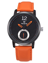 cheap -SKONE Men's Dress Watch Japanese Japanese Quartz Stainless Steel Genuine Leather Black / Orange / Brown 30 m Stopwatch Casual Watch Analog Elegant Minimalist - Black Brown Orange red Two Years