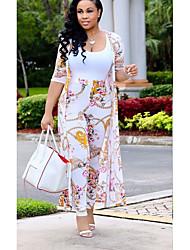 abordables -Femme Longue Set - Fleur, Imprimé Pantalon