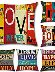 cheap -Set of 6 Cotton / Linen Pillow Case, Classic Letter Printing Traditional / Vintage European Style Throw Pillow