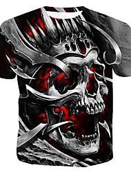 cheap -Men's T shirt Graphic 3D Skull Plus Size Print Short Sleeve Casual Tops Gray