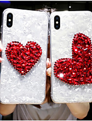 cheap -Case For Apple iPhone XS / iPhone XR / iPhone XS Max Rhinestone Back Cover Heart Hard Acrylic