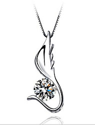 cheap -Women's Cubic Zirconia Pendant Necklace Classic Angel Wings Fashion Copper White 45 cm Necklace Jewelry 1pc For Gift Daily