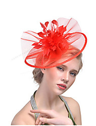 cheap -Women's Ladies Tiaras Fascinators For Wedding Party / Evening Prom Princess Feather Fabric Blushing Pink Red Black