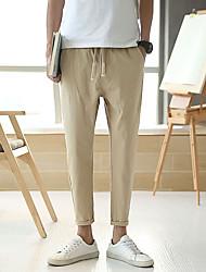 cheap -Men's Woven Pants Beam Foot Drawstring Cotton Sports Pants / Trousers Bottoms Fitness Jogging Quick Dry Plus Size Fashion Black Dark Grey Light Grey Khaki / Micro-elastic