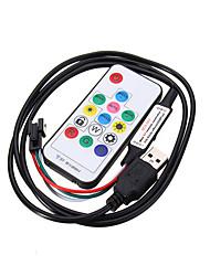 abordables -USB 3 clé bouton contrôle gradateur pour dc5v ws2812 led module de bande de pixel lumière avec jst connecteur rf 14 clé usb ws2812b contrôleur